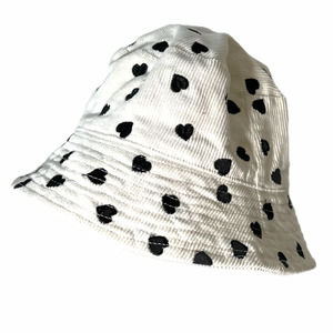 Urban Outfitters Corduroy Black White Heart Bucket Hat